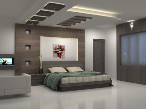 comfortable modern bedroom with while flooring king size bed bedside table white sofa tv and simple but captivating plaster of paris ceiling design with wooden divider 300x225 plastering gold coast